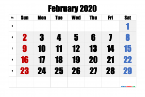 Download Free Printable Calendar February 2020
