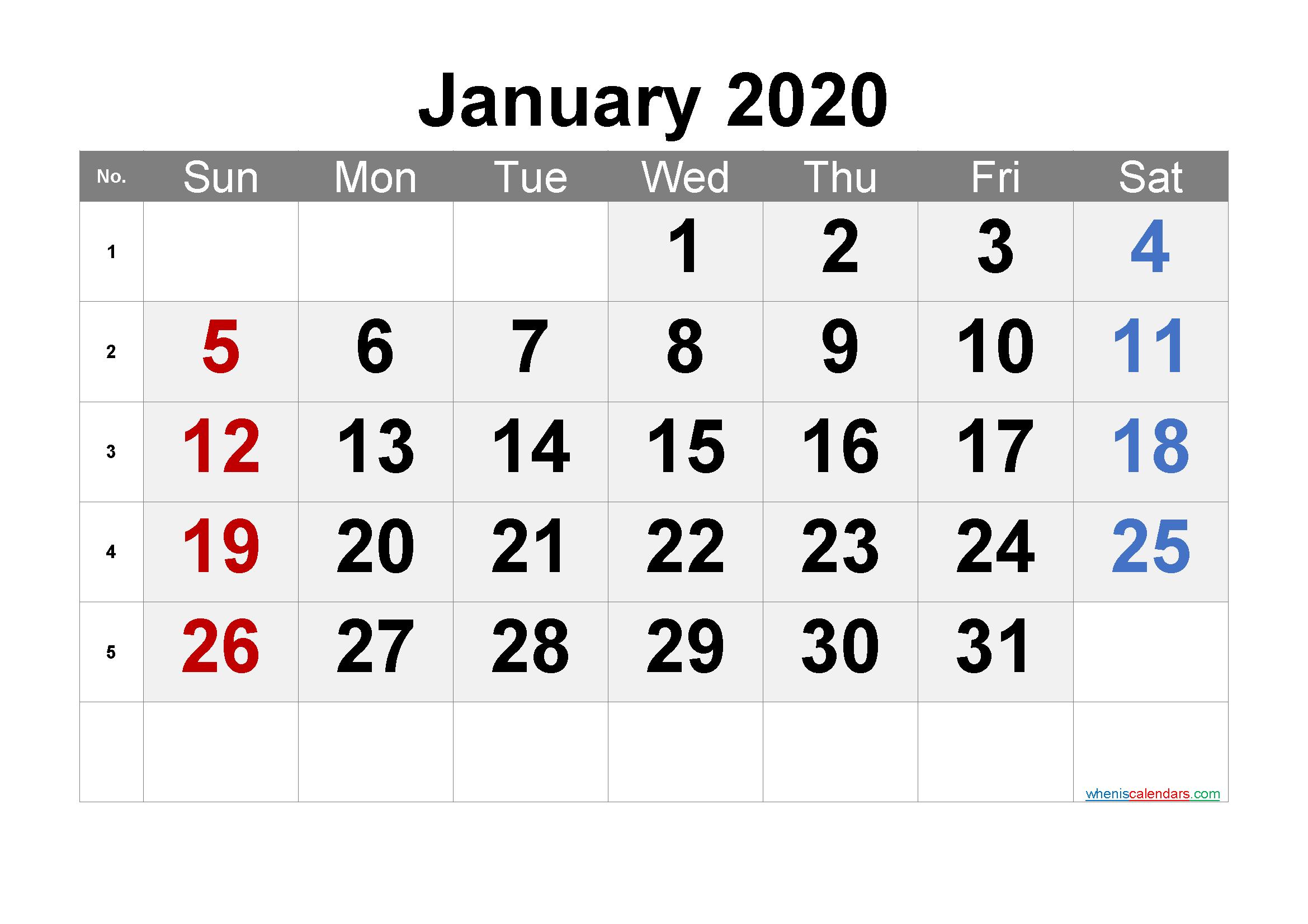 Free Printable Calendar 2020 January