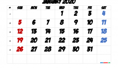 Free January 2020 Calendar with Week Numbers