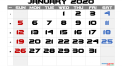 Printable Calendar 2020 January