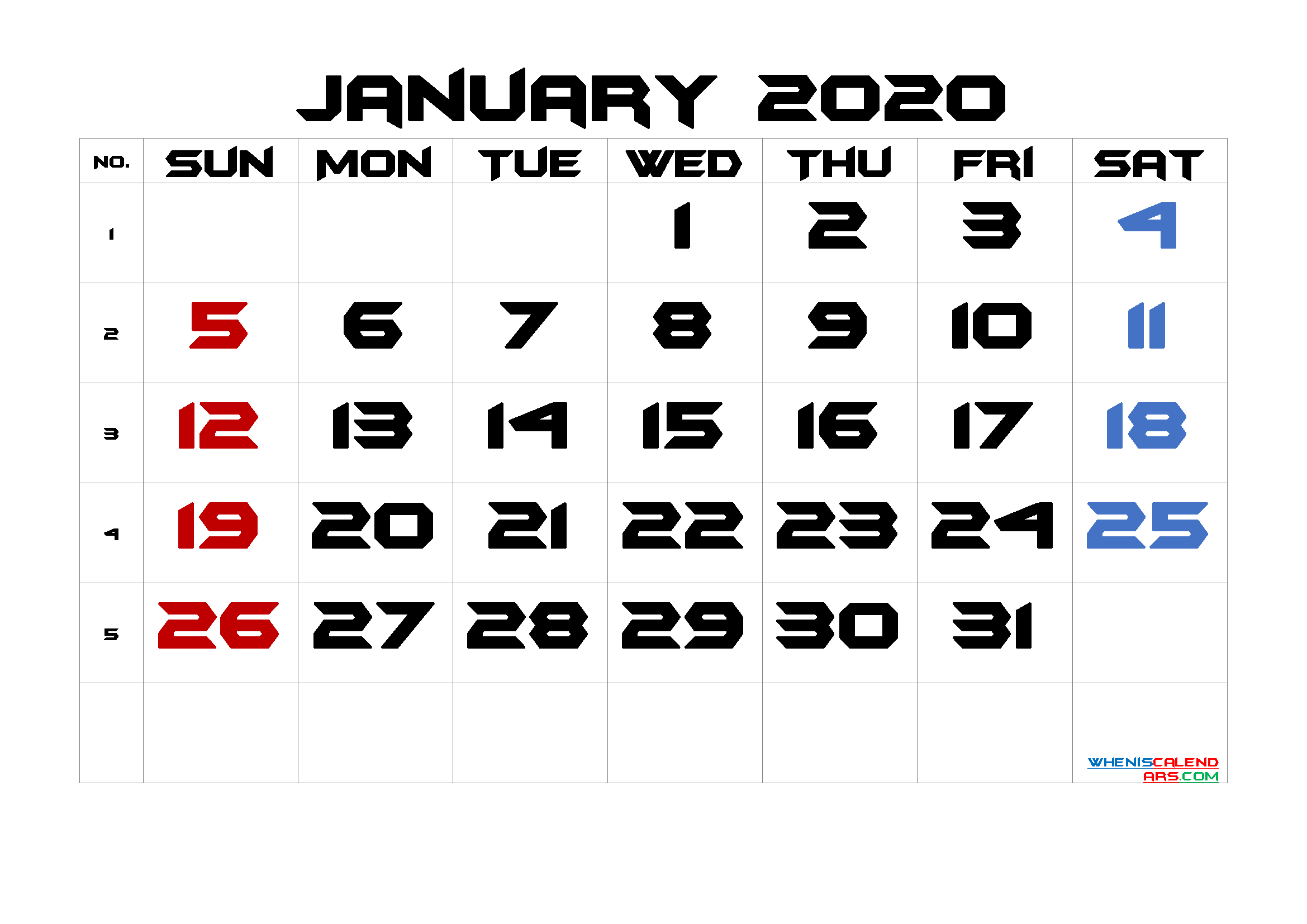 January 2020 Printable Calendar with Week Numbers