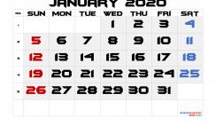 Printable January 2020 Calendar with Week Numbers