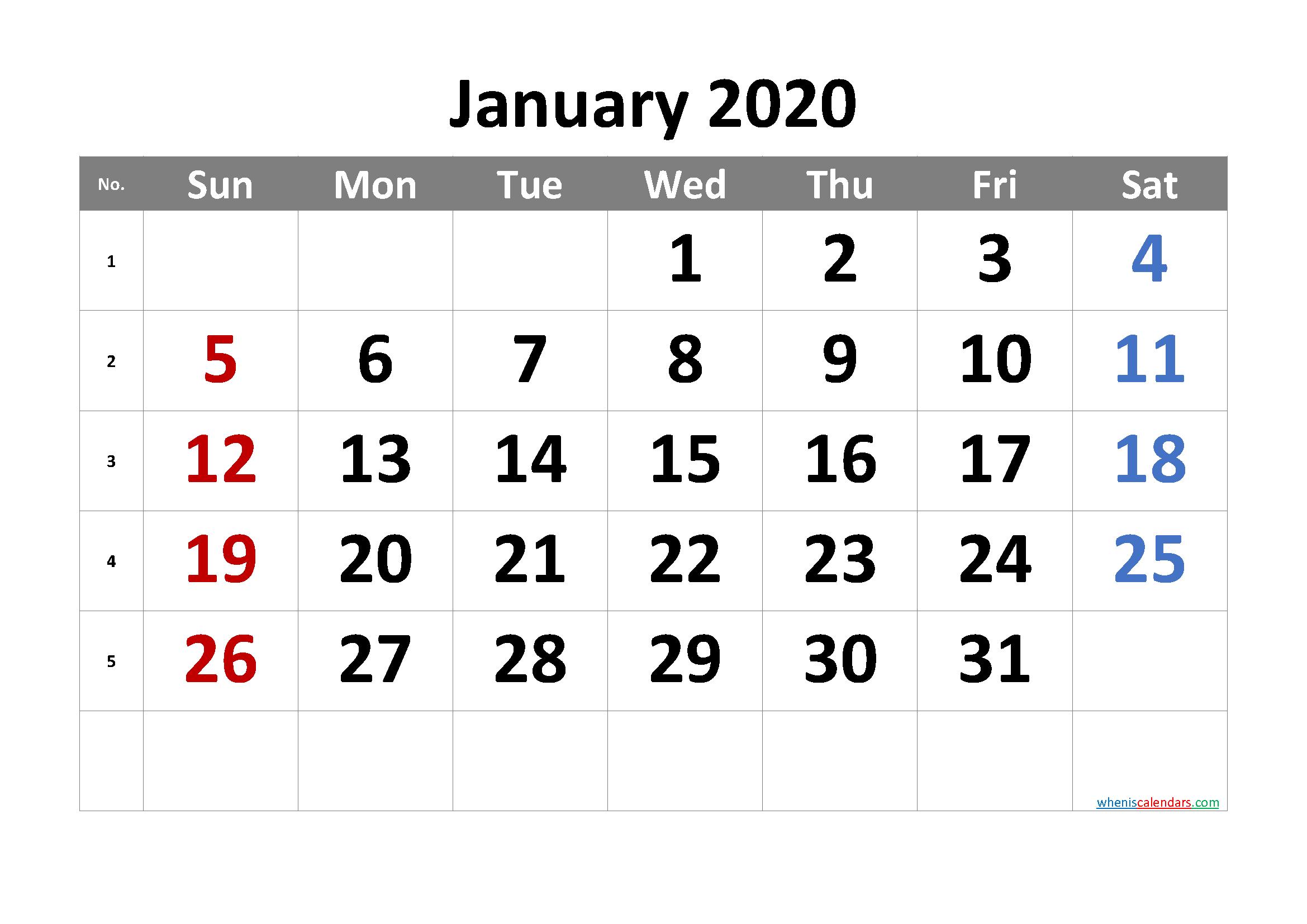 2020 January Free Printable Calendar