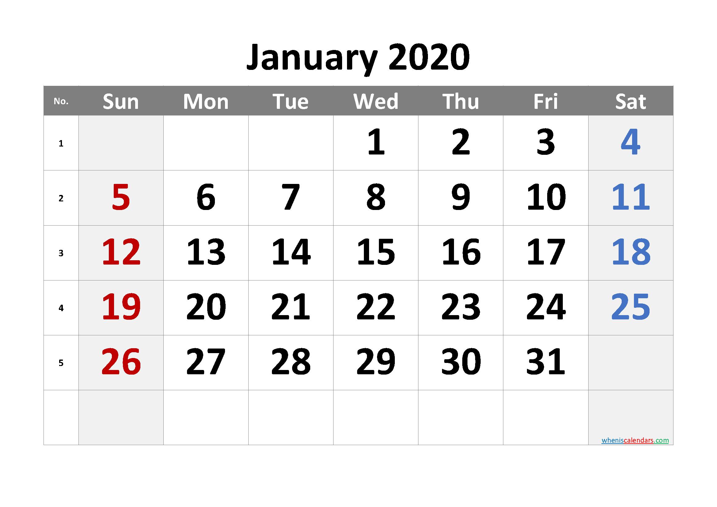 January 2020 Printable Calendar with Week Numbers