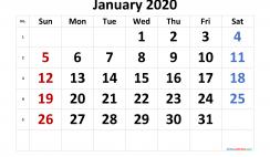 Free January 2020 Calendar with Week Numbers