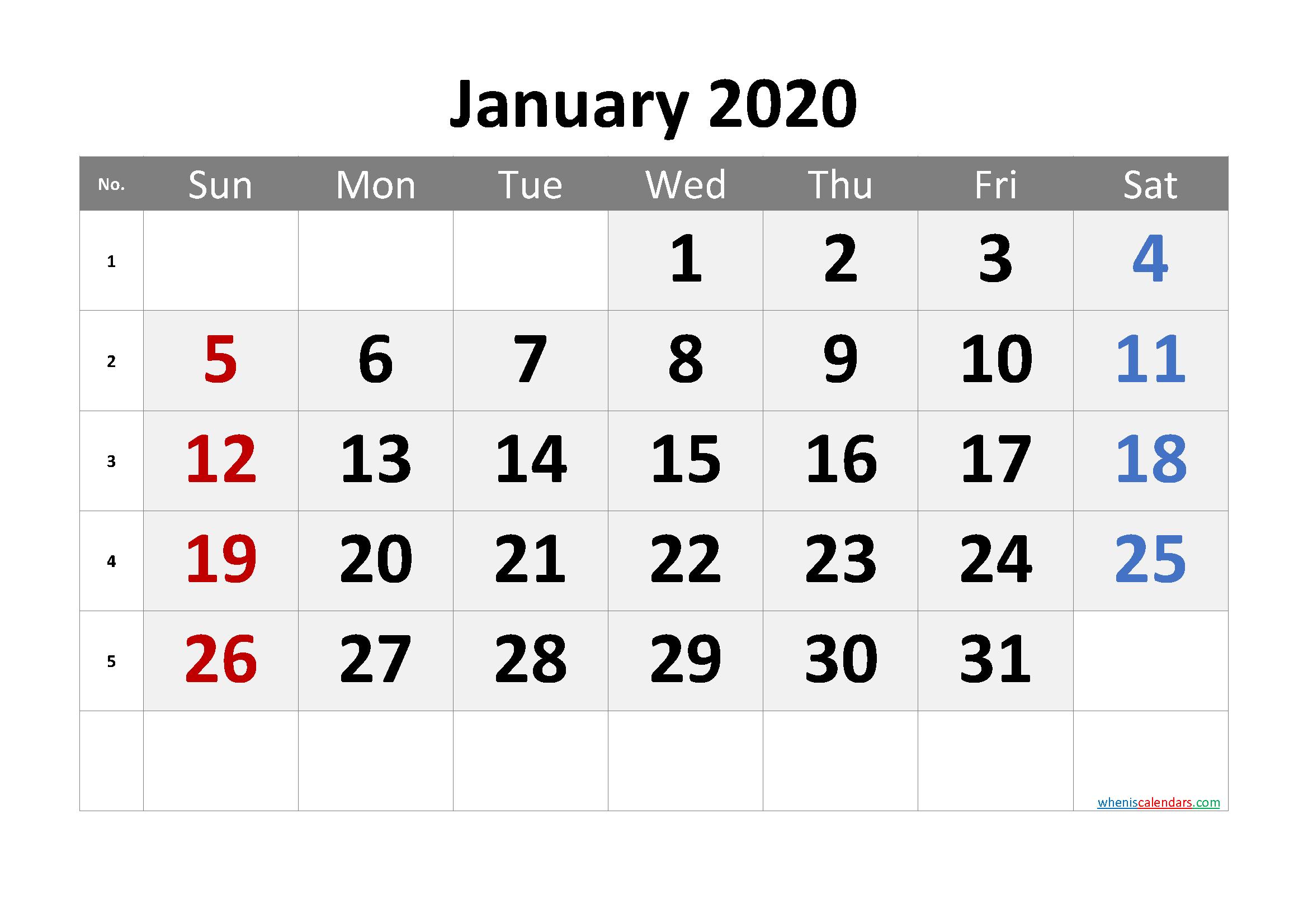 Printable Calendar January 2020