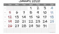 Printable January 2020 Calendar with Week Numbers