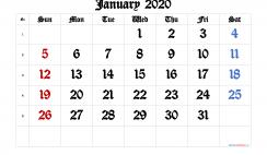 Free Printable 2020 January  Calendar