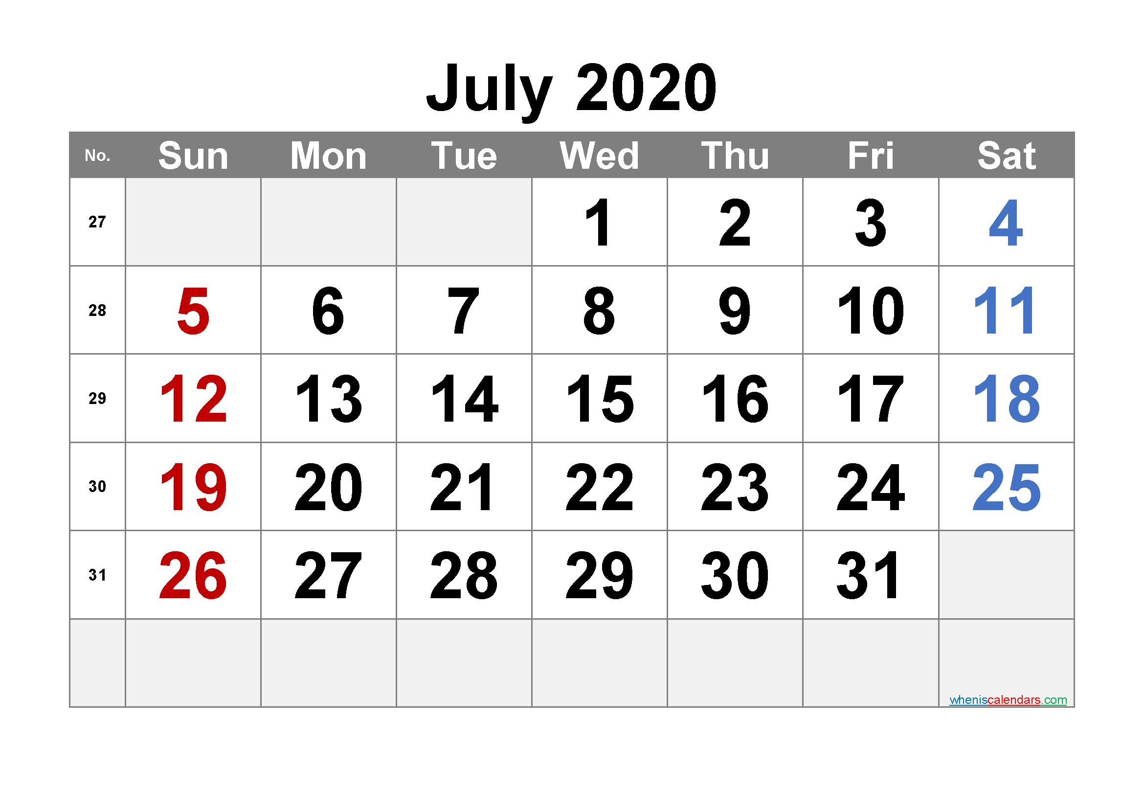 Free Printable July 2020 Calendar with Week Numbers