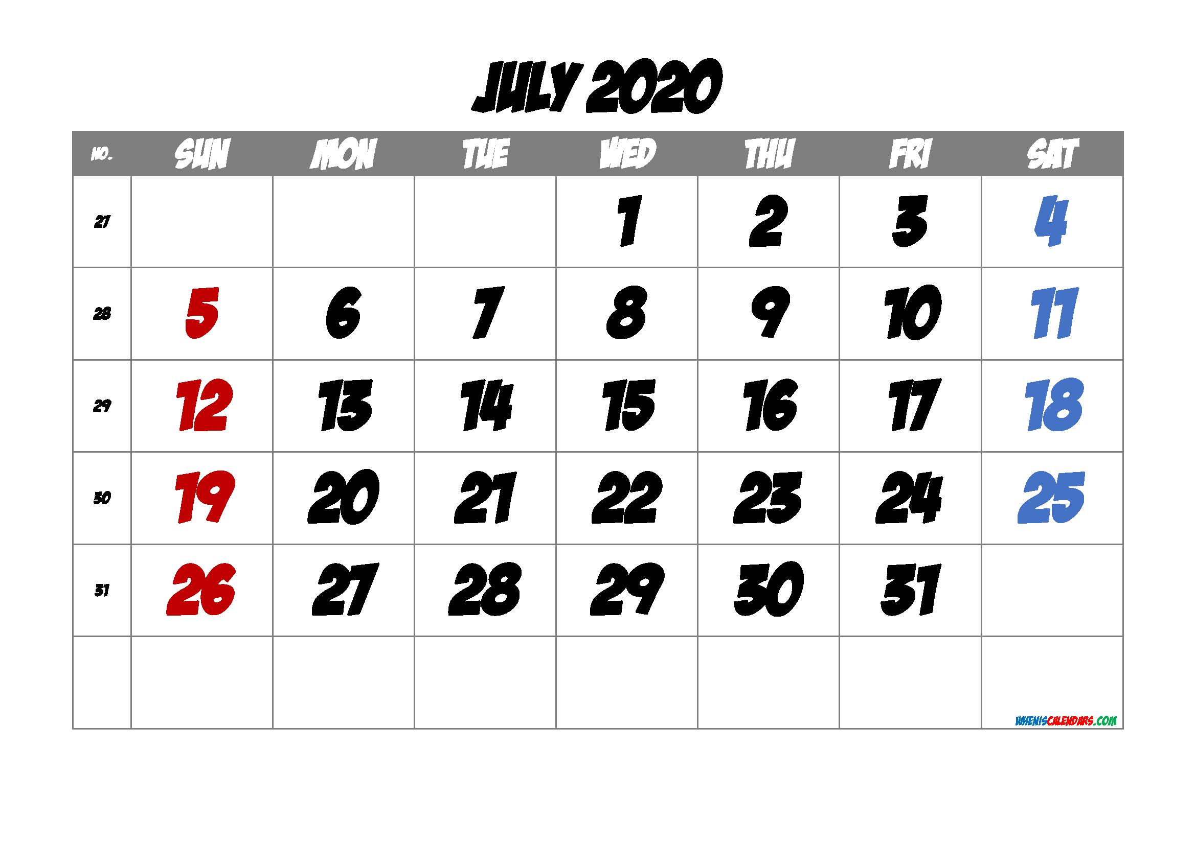 2020 July Free Printable Calendar