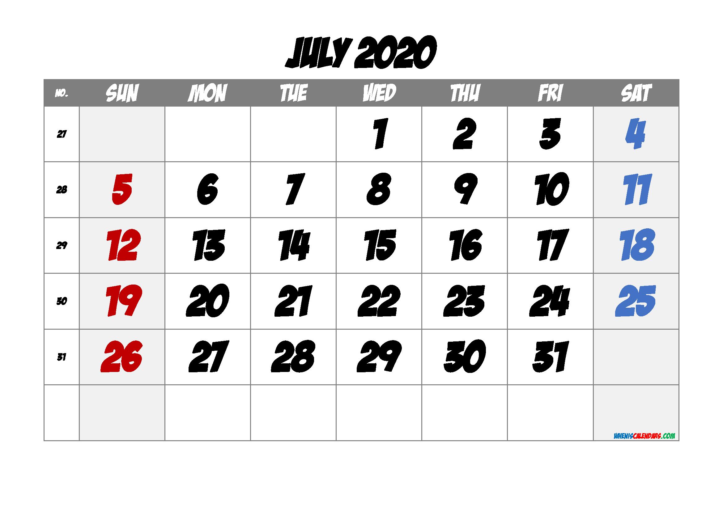 Free Printable 2020 July Calendar