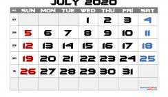 Free Printable Calendar 2020 July