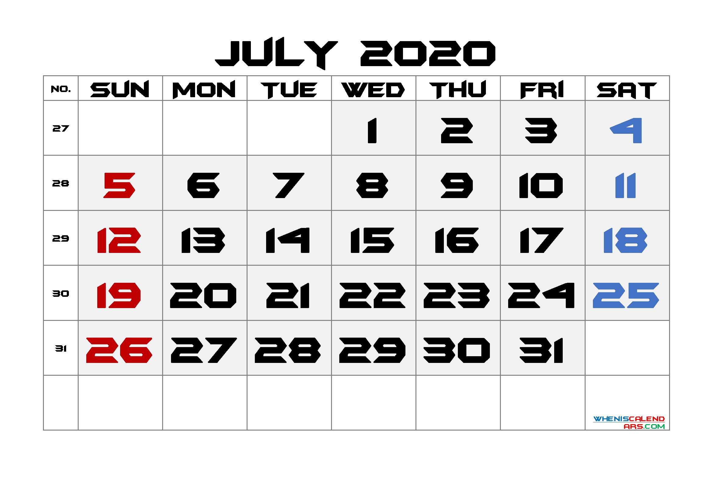 Printable July 2020 Calendar with Week Numbers