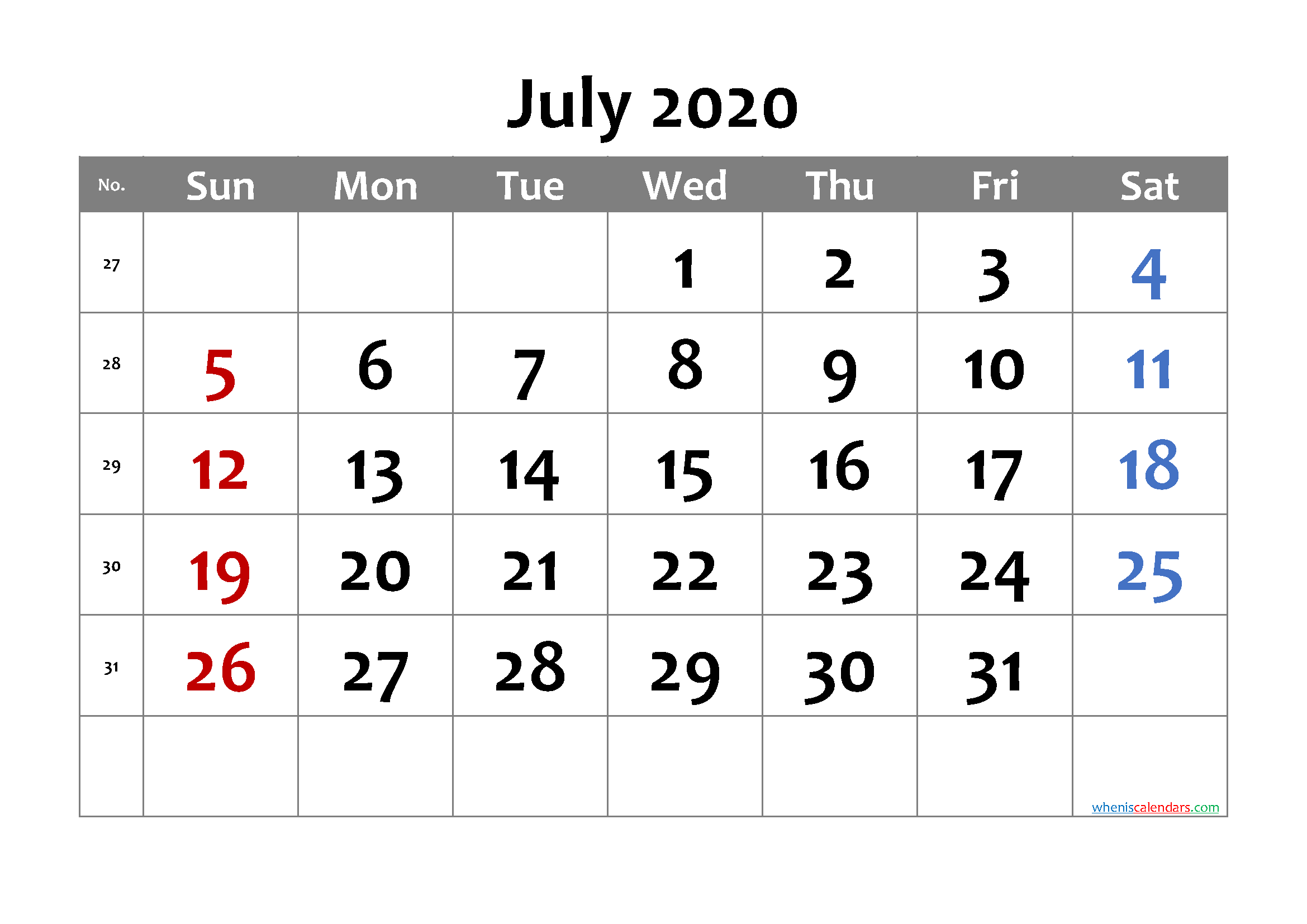 Free Printable July 2020 Calendar with Week Numbers