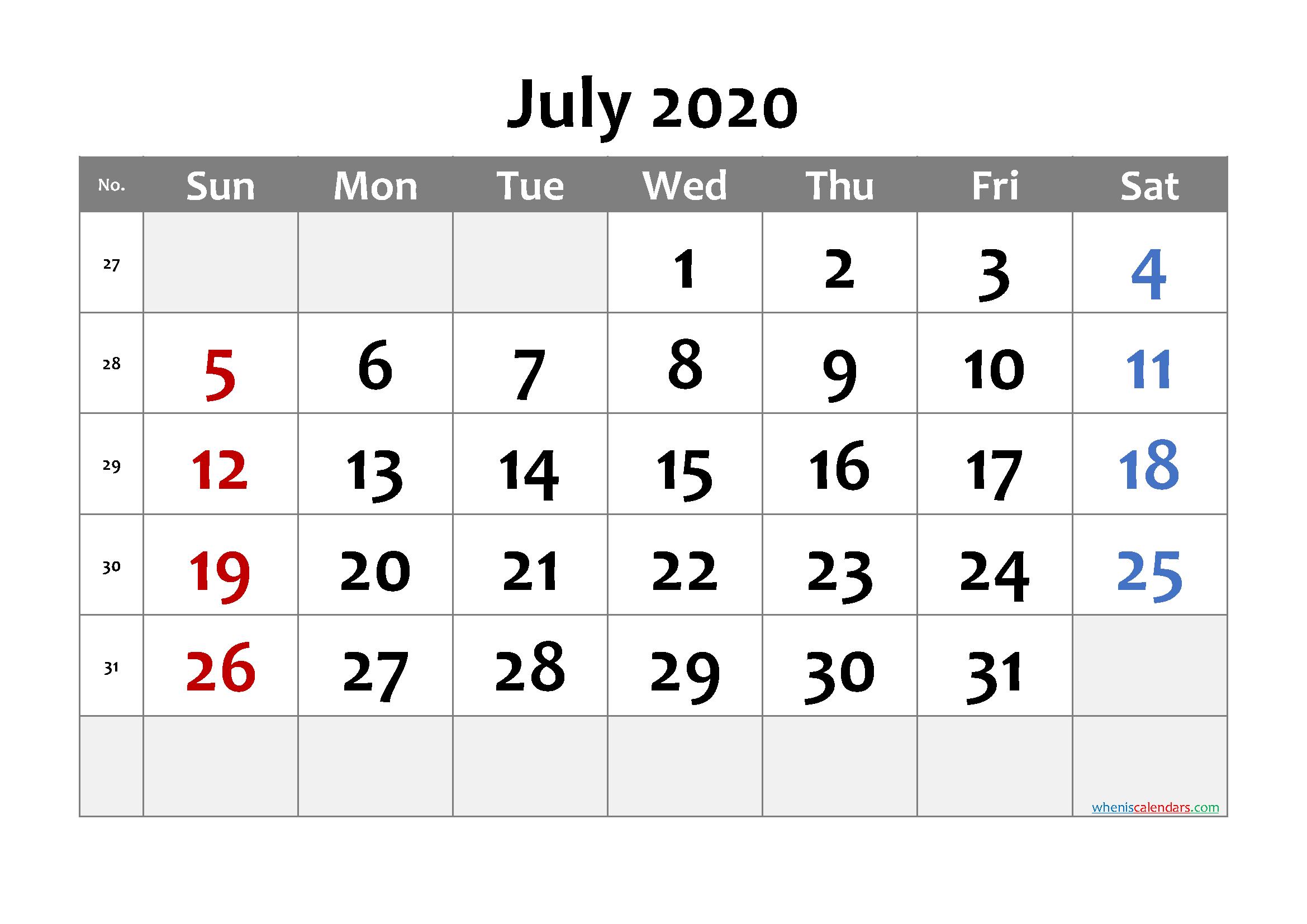 July 2020 Printable Calendar