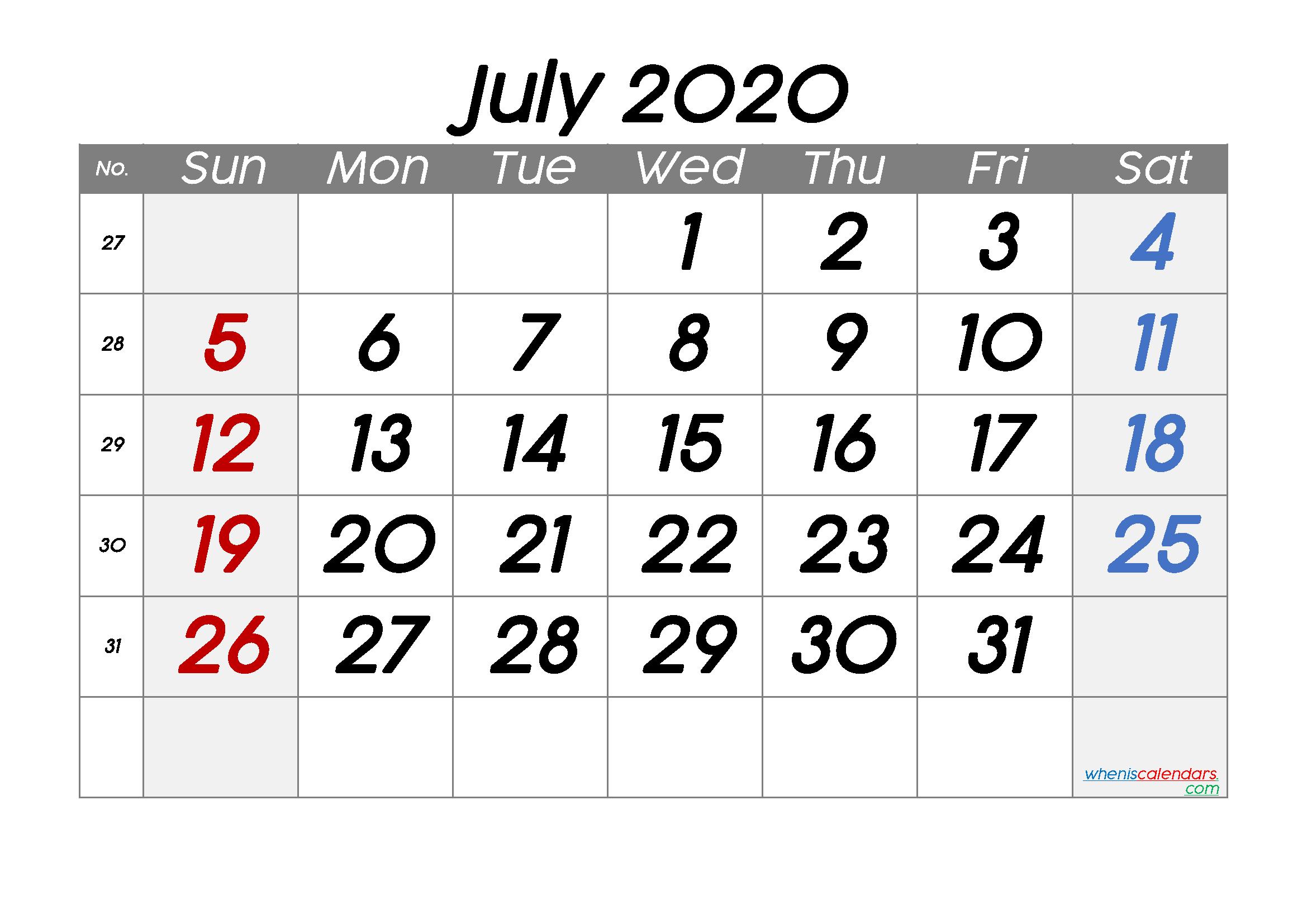 Free July 2020 Calendar with Week Numbers