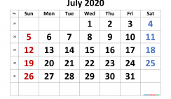 Free July 2020 Calendar with Week Numbers