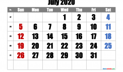 Printable July 2020 Calendar with Week Numbers