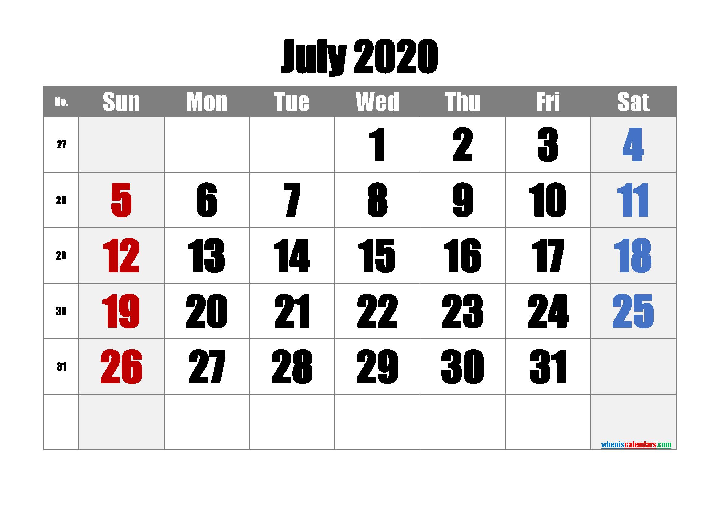 Free July 2020 Calendar