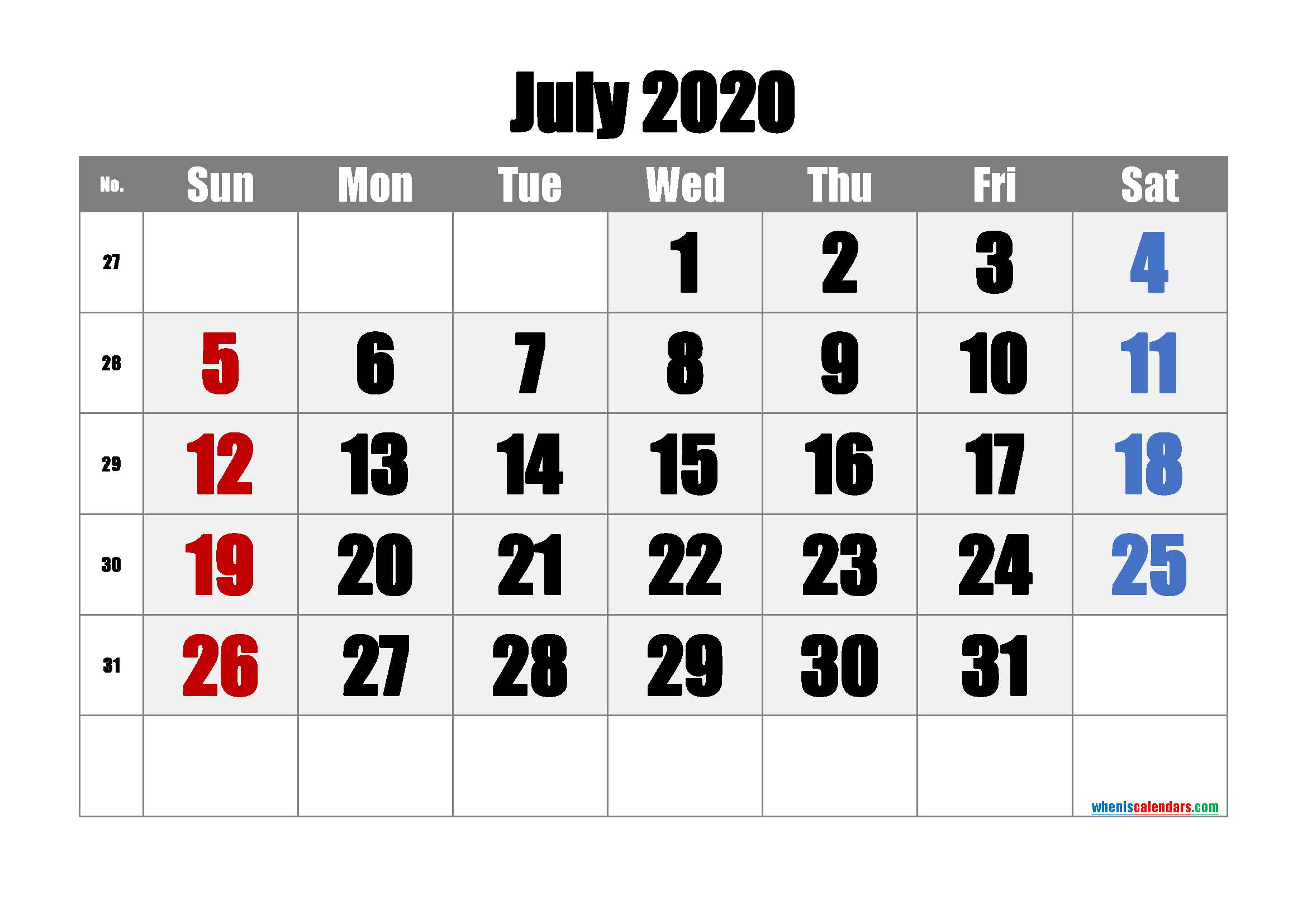 Printable Calendar 2020 July