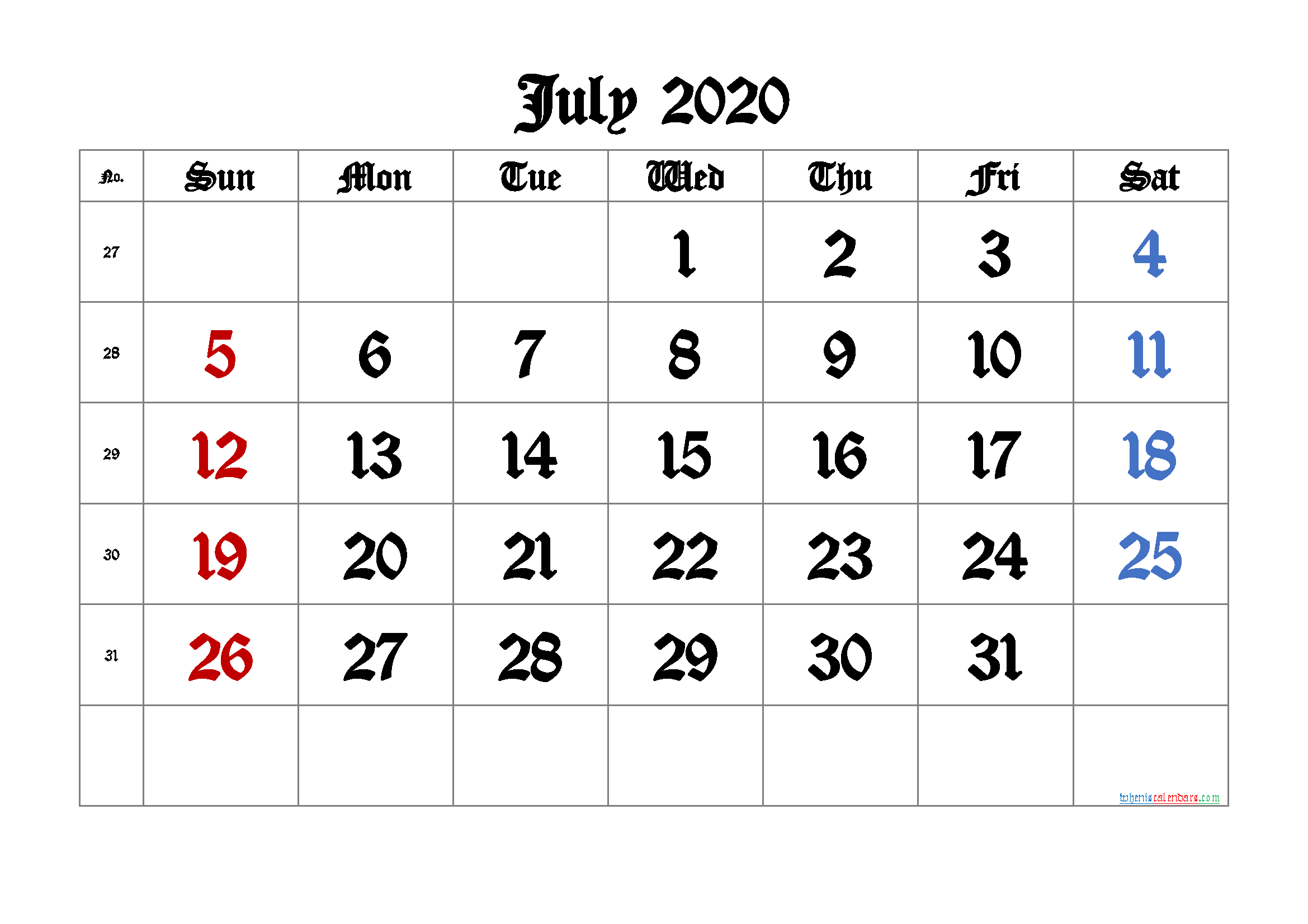 July 2020 Printable Calendar with Week Numbers