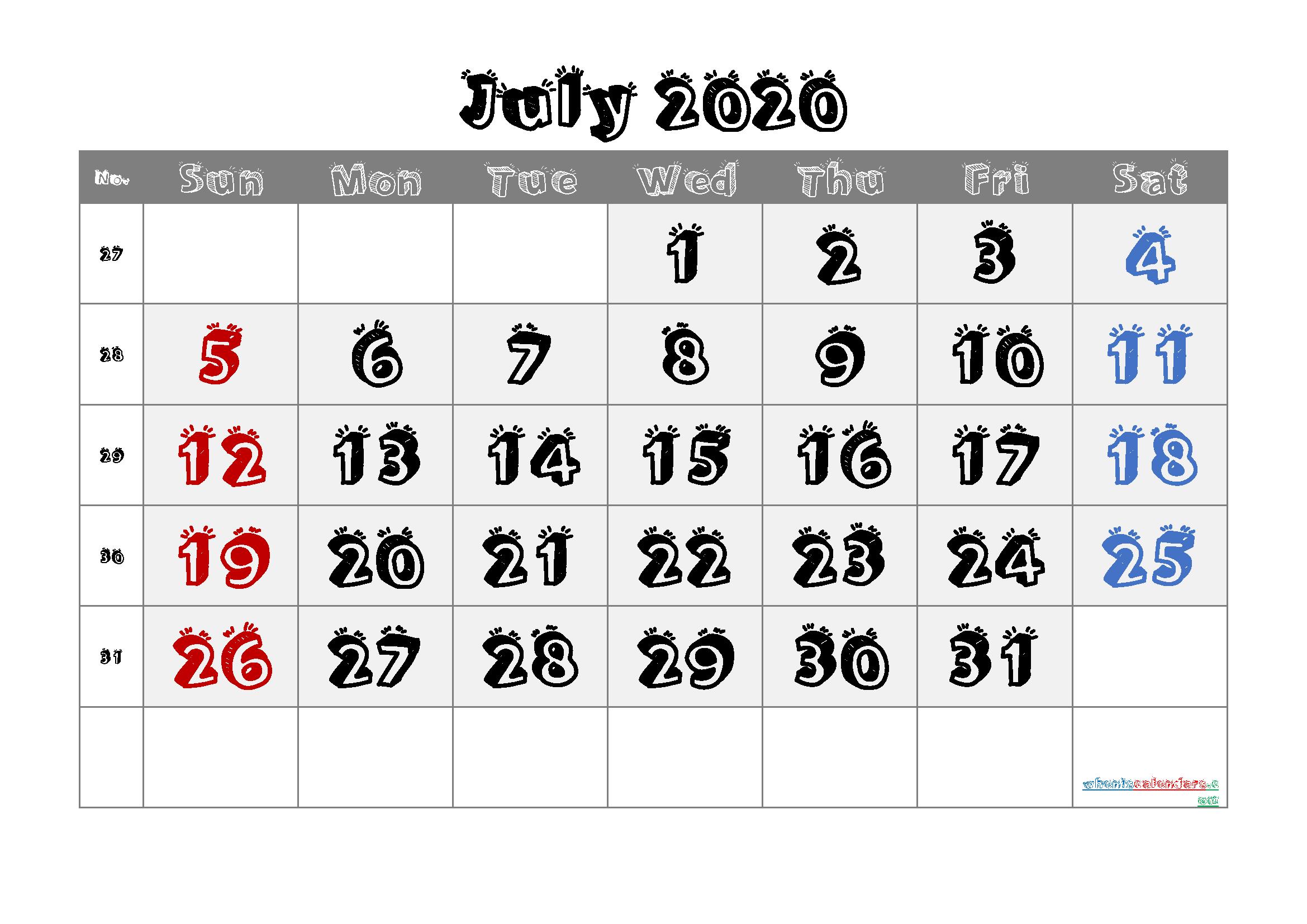 July 2020 Printable Calendar with Week Numbers