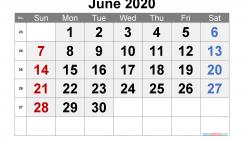Printable Calendar 2020 June