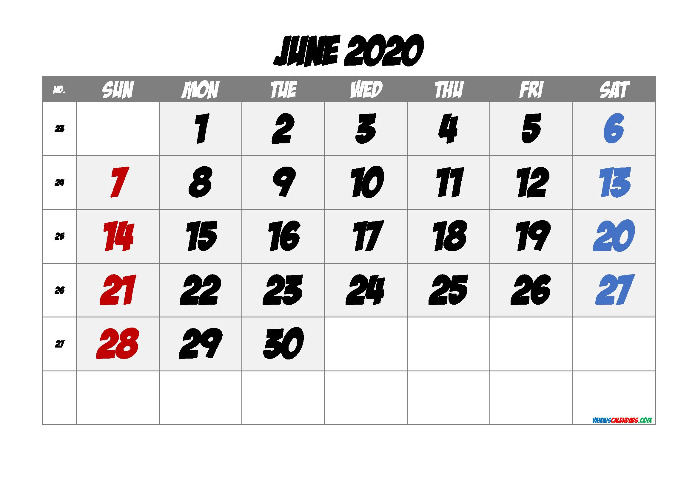 Printable Calendar June 2020