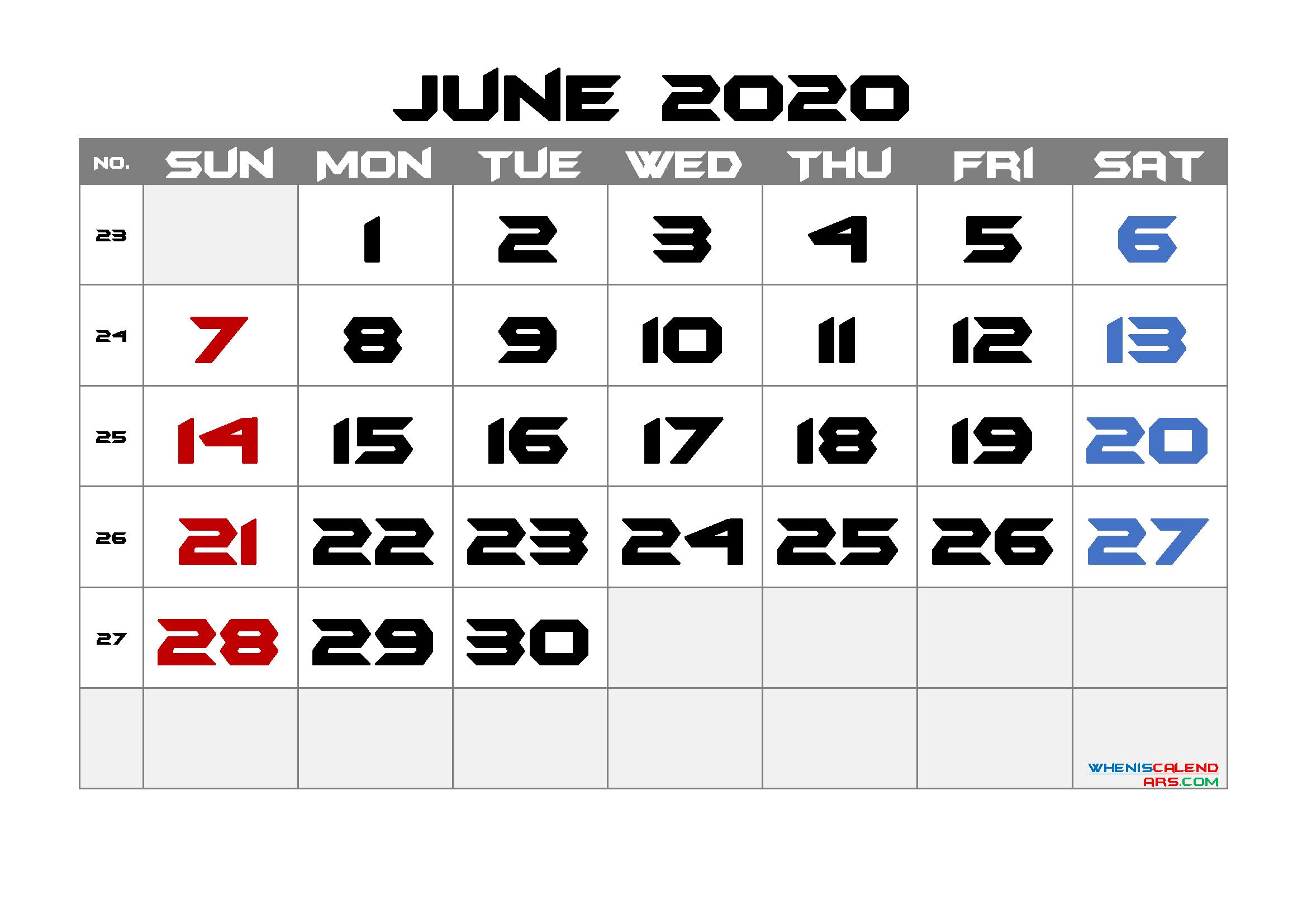 2020 June Free Printable Calendar