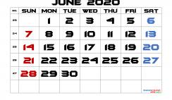 Free Printable 2020 June  Calendar