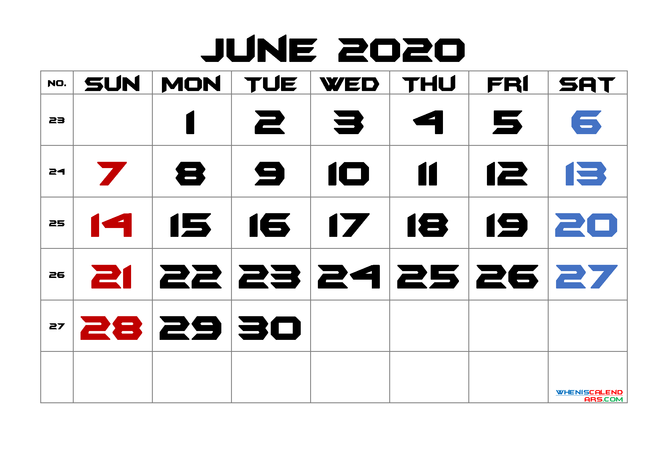 June 2020 Printable Calendar with Week Numbers