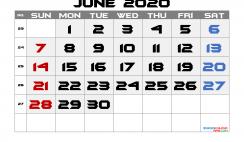 Free June 2020 Calendar with Week Numbers
