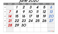 Free June 2020 Calendar with Week Numbers