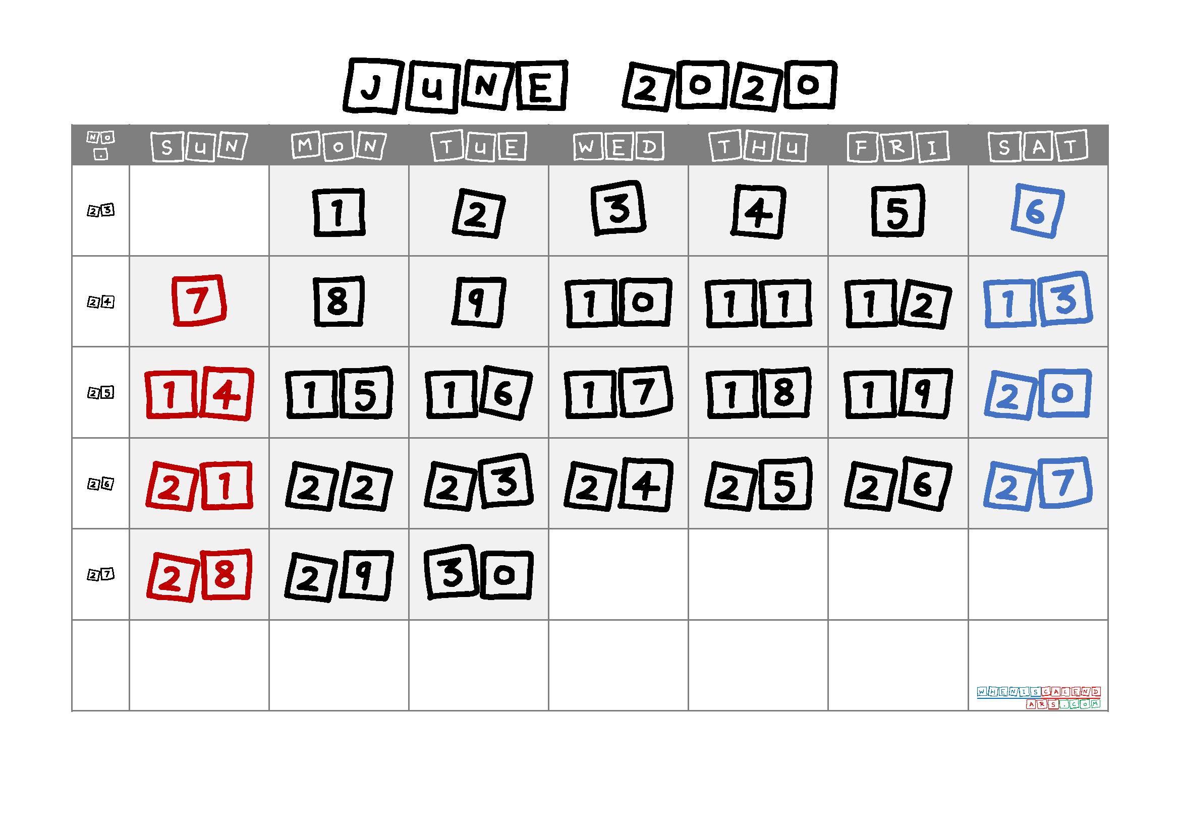 June 2020 Printable Calendar with Week Numbers