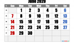Free Printable June 2020 Calendar with Week Numbers
