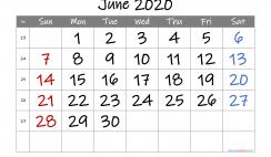 Free Printable Calendar 2020 June
