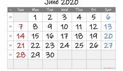 Printable June 2020 Calendar with Week Numbers