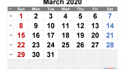 Free Printable March 2020 Calendar with Week Numbers