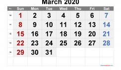 Printable Calendar 2020 March