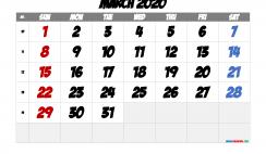 Printable March 2020 Calendar with Week Numbers