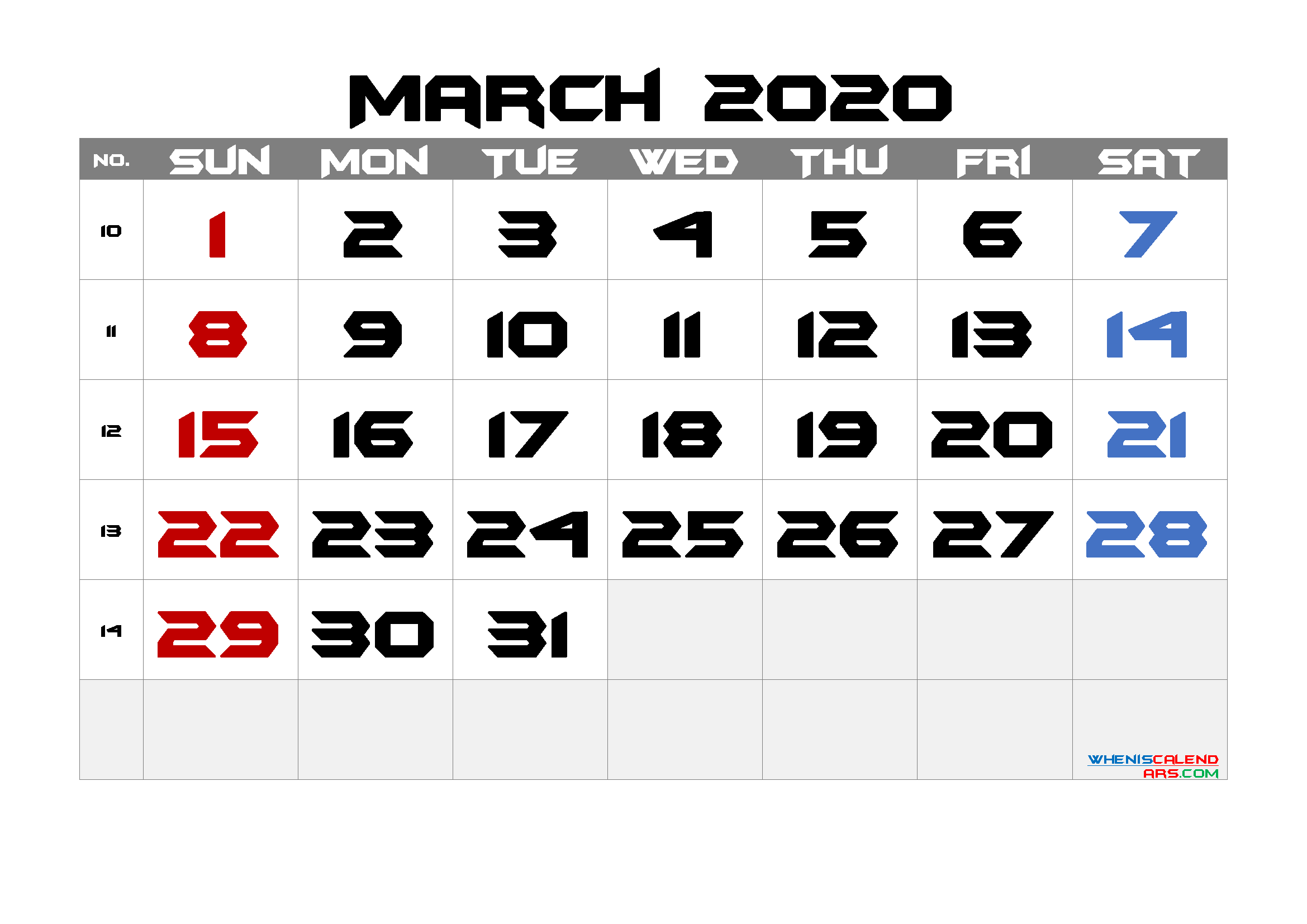 2020 March Free Printable Calendar