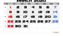 Free March 2020 Calendar with Week Numbers