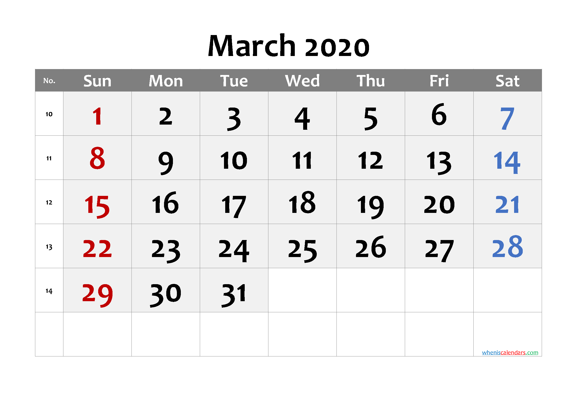 March 2020 Printable Calendar with Week Numbers