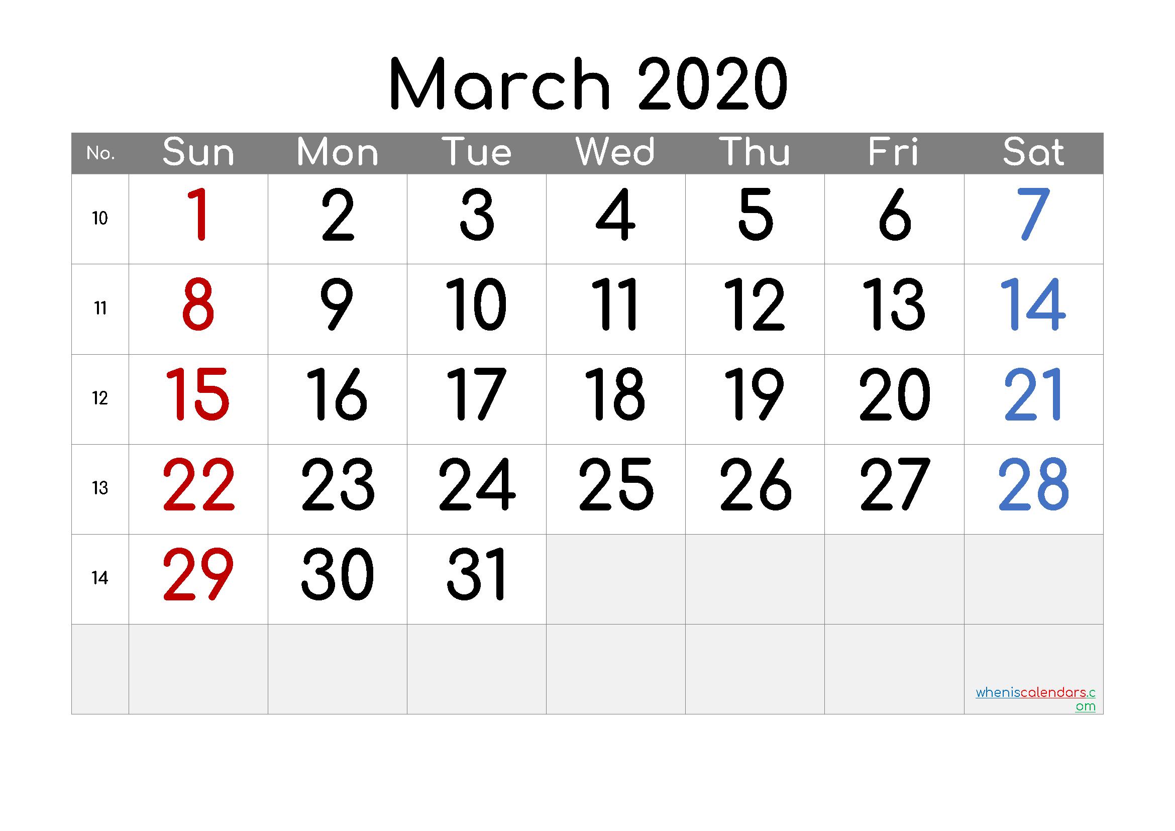 Free Printable Calendar 2020 March