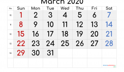 Printable March 2020 Calendar with Week Numbers