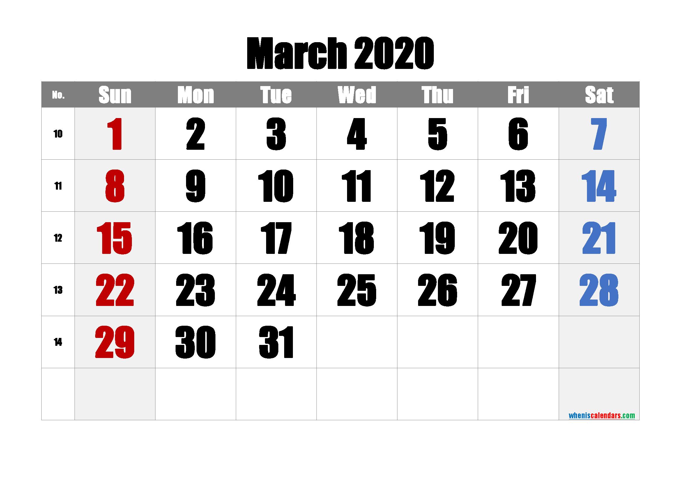 Free March 2020 Calendar