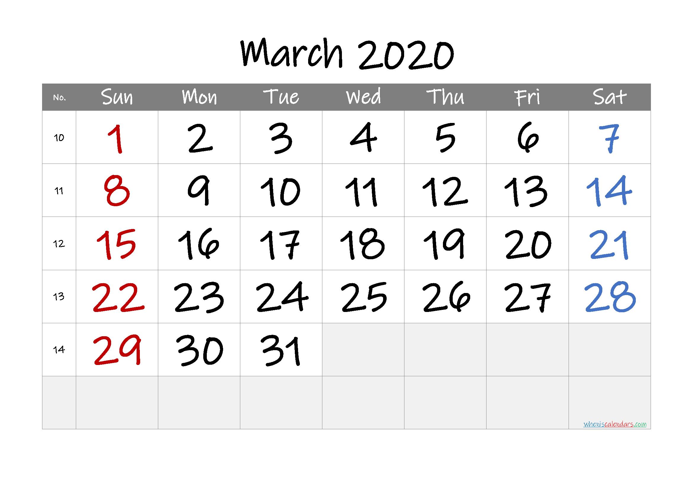 Printable March 2020 Calendar