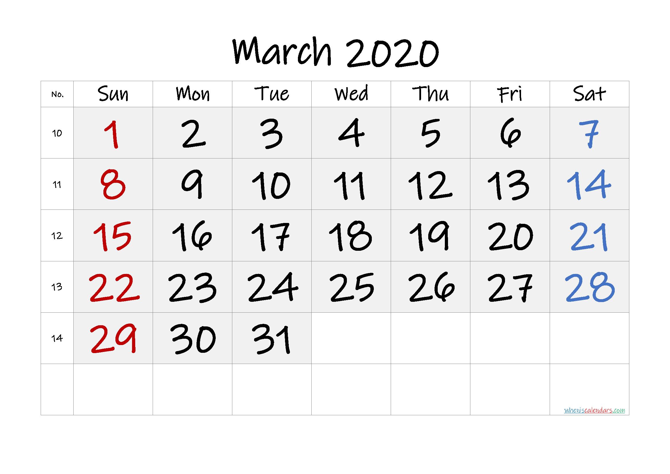Free Printable March 2020 Calendar with Week Numbers