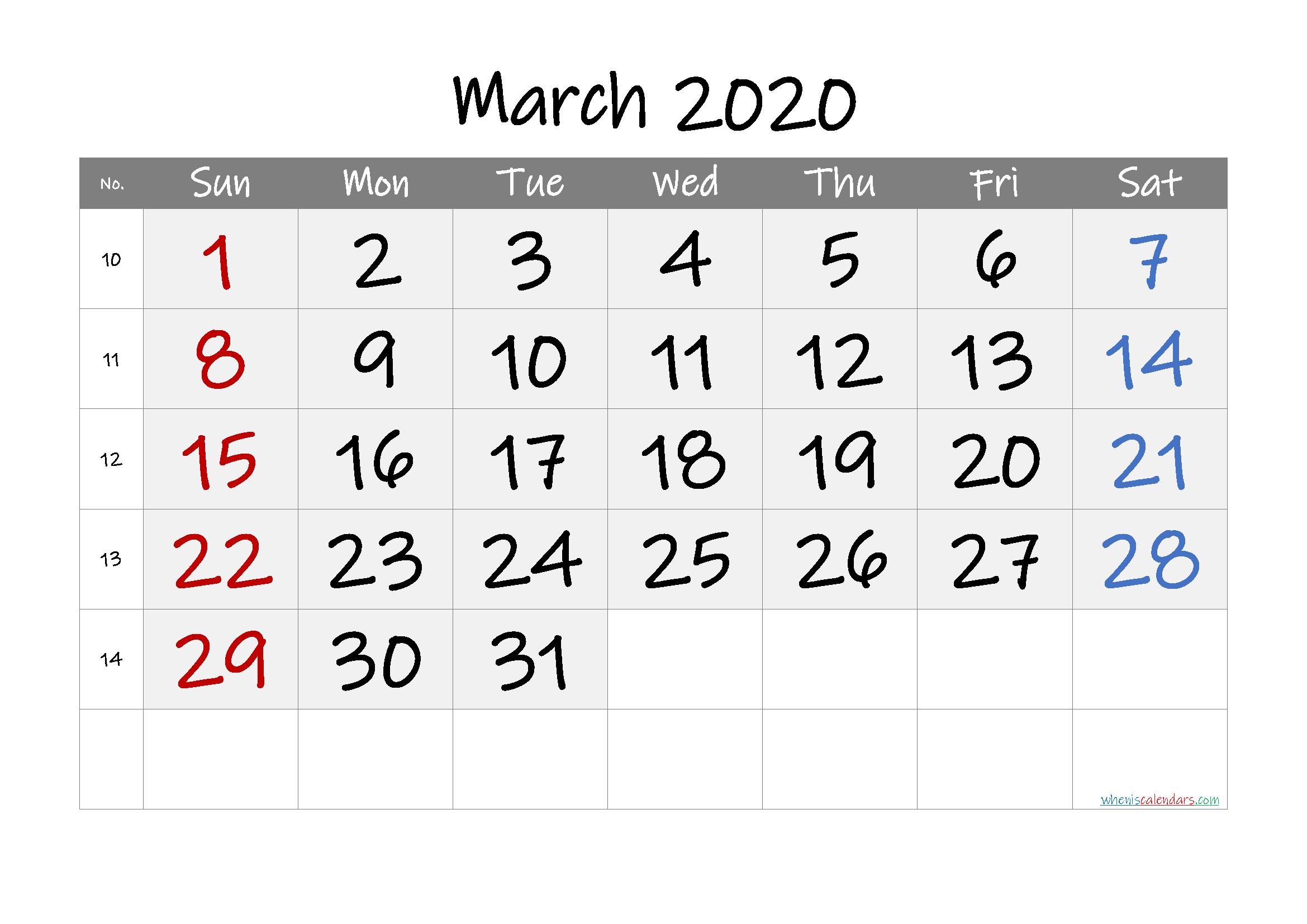 Printable Calendar March 2020