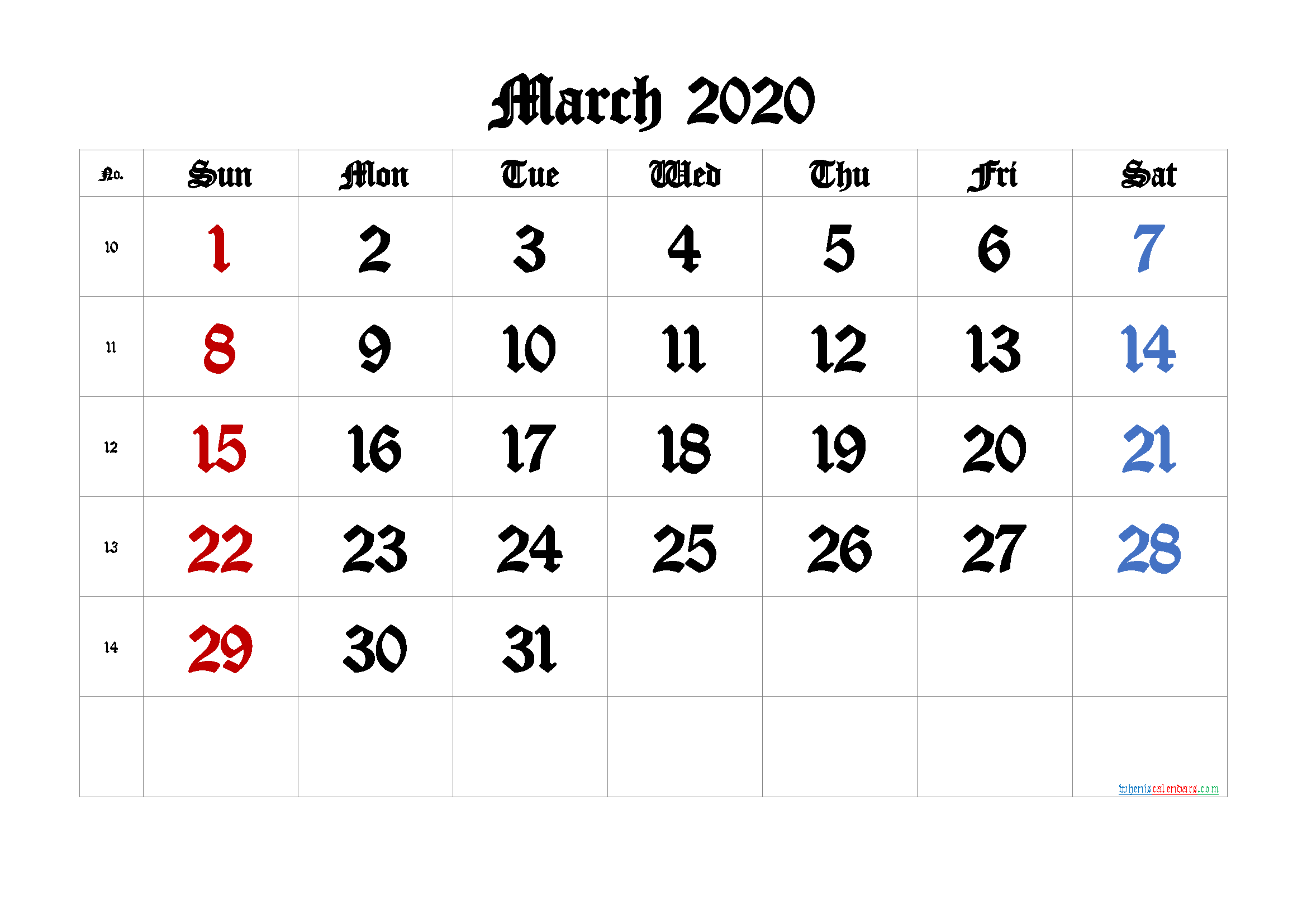 March 2020 Printable Calendar with Week Numbers